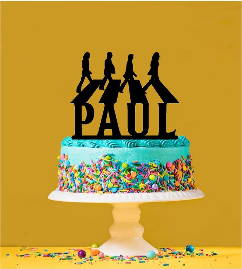 #9 Beatles gift Personalized Beatles Abbey Road Cake Topper