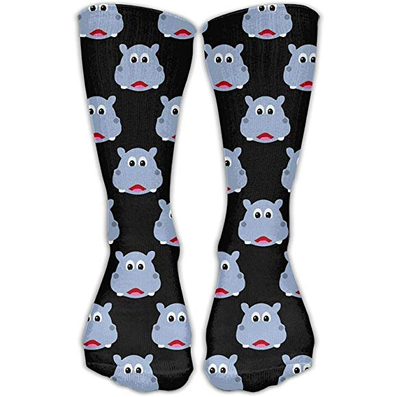 Cute Hippo Face Novelty Cotton Crew Socks
