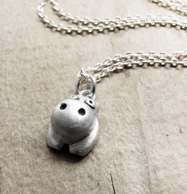 Unique hippo gifts necklace