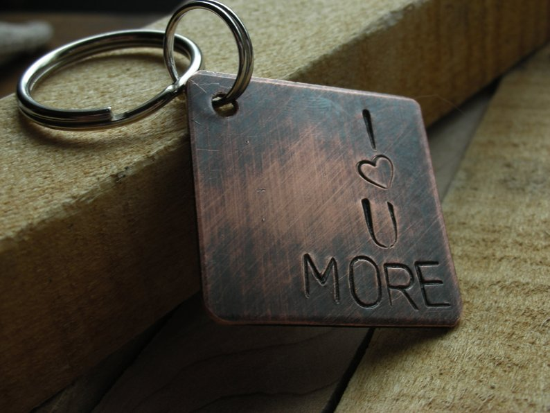 I ♡ U More Custom Keychain