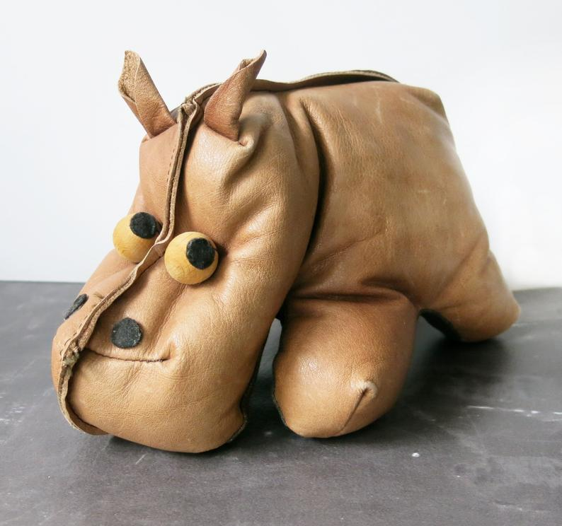 Leather Hippo Vintage, Therapy Toys great gift for people who love hippo