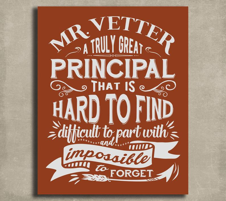 Gifts for principals from teachers customized art print