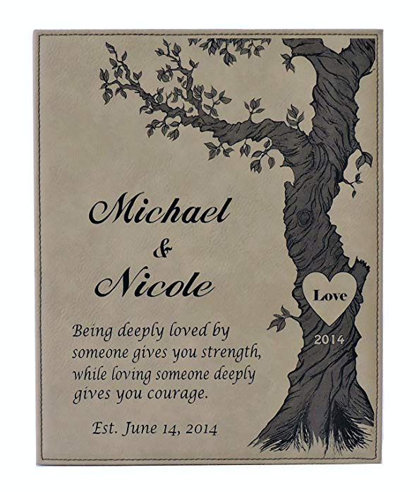 Anniversary gifts for girlfriend Personalized Leather Plaque