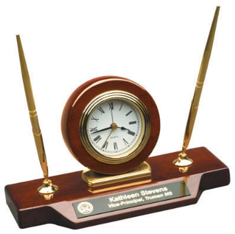 Principal gift from students or teachers Desk Clock on Base with 2 Pens