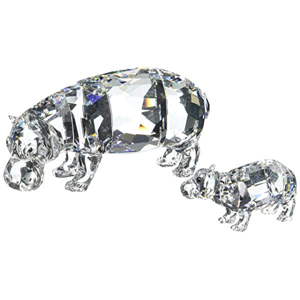 Hippo gifts for adults Swarovski crystal figurine Hippo Mother with Baby