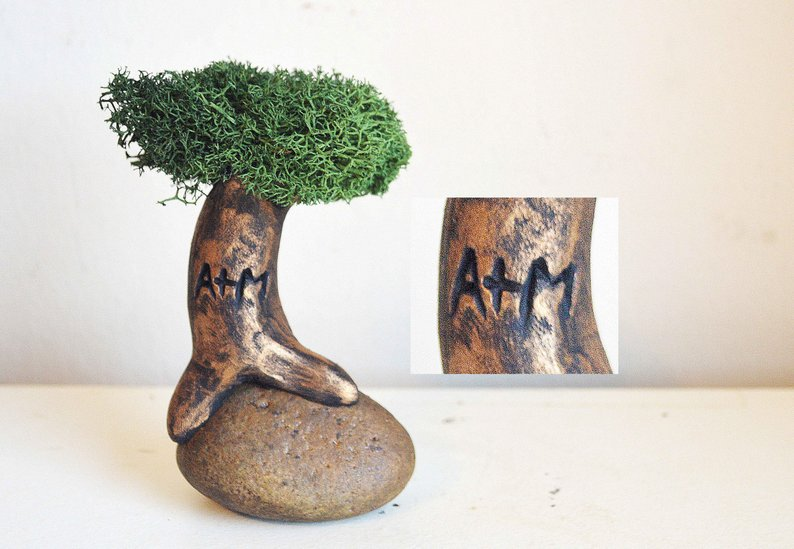 Anniversary gifts for girlfriend Tree With Your Initials Carved In