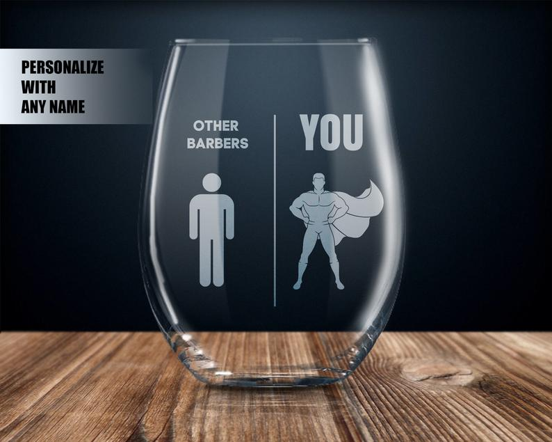 Barber gift personalized wine glass