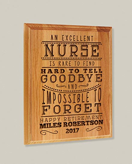 Nurse retirement gift: Custom Wooden Retirement Plaque
