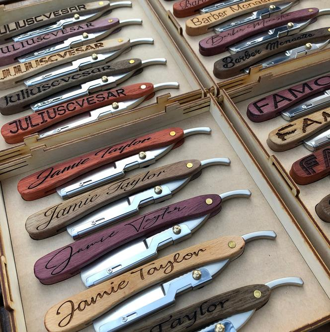 Gifts for barbers Engraved Wood Straight Razor