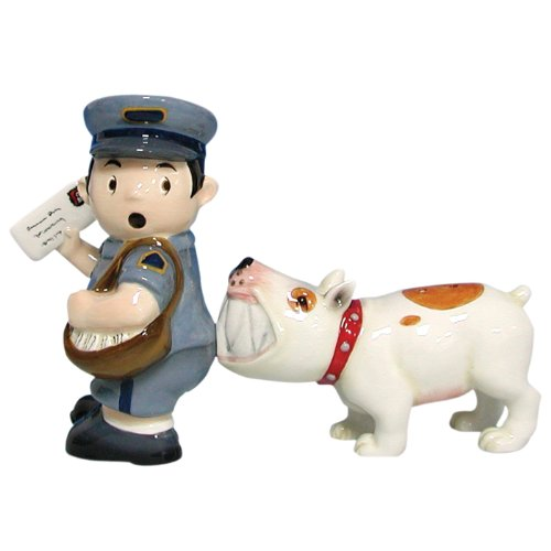 Postman gifts: Magnetic Mailman and Dog Salt and Pepper Shaker Set