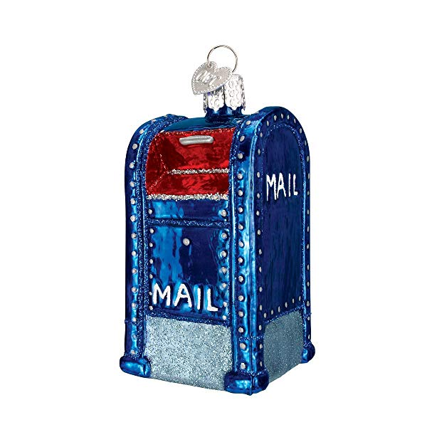 Mail Box Glass Blown Christmas Ornament