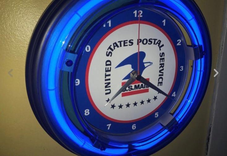 USPS Blue Neon Wall Clock