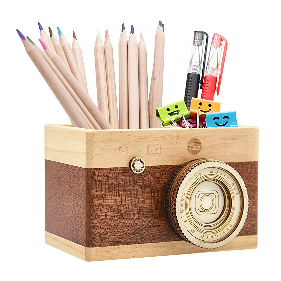 Camera Wooden Pencil Holder
