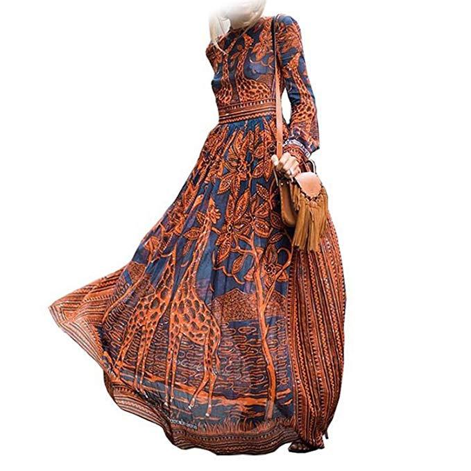 Elegant Long Giraffe Themed Dress