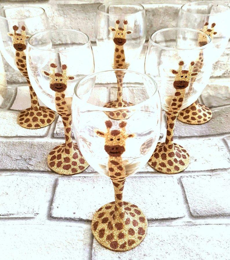 Giraffe Glitter Wine Glasses