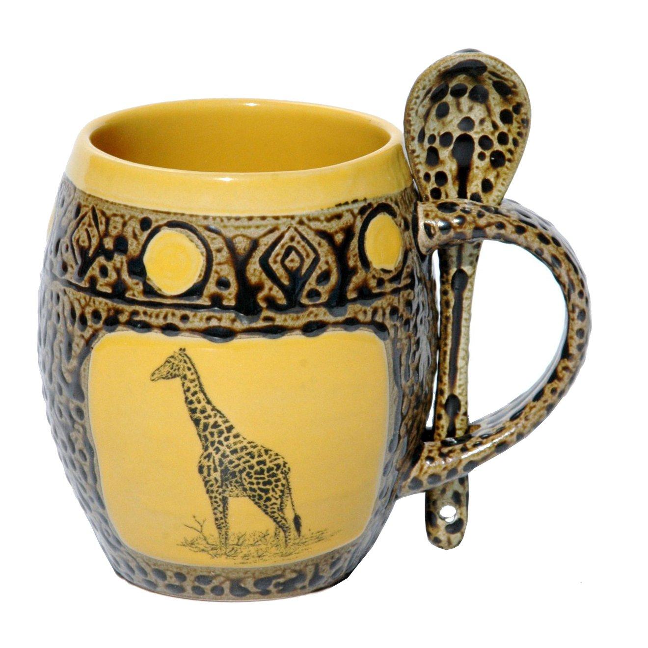 Giraffe Mug with Spoon in Dark Yellow