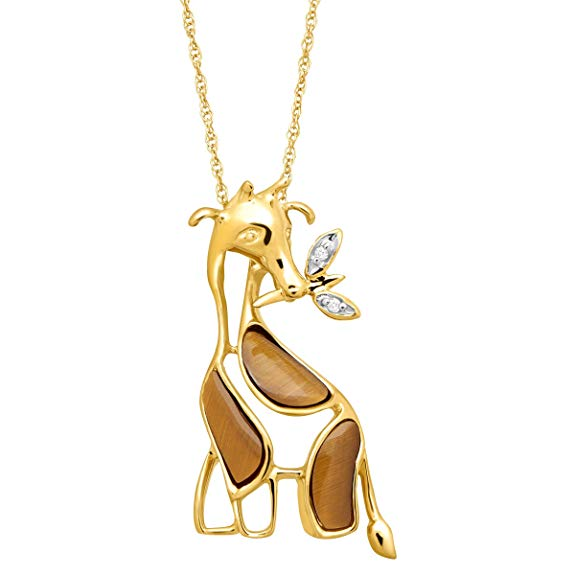 Natural Tiger's Eye Giraffe Pendant Necklace with Diamonds in 10K Gold