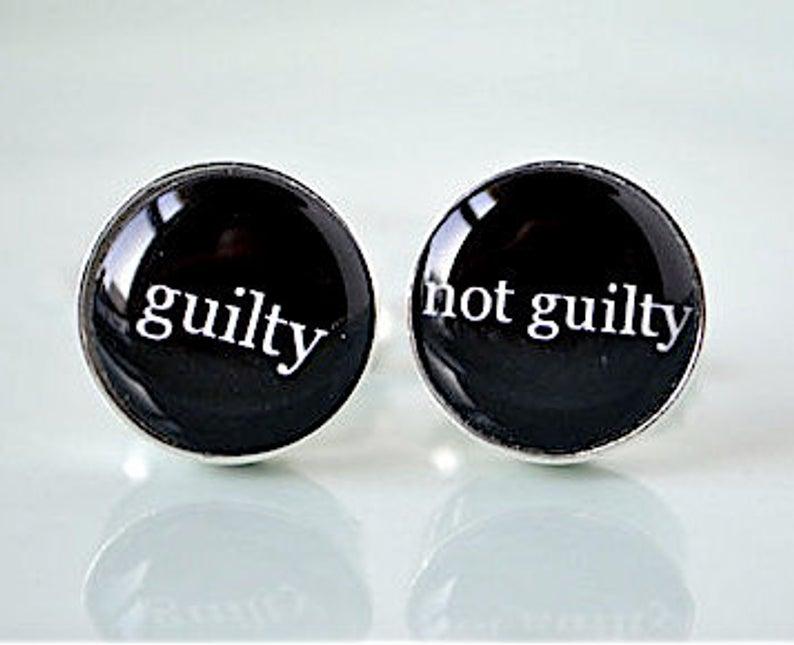 Guilty Not Guilty Silver cufflinks