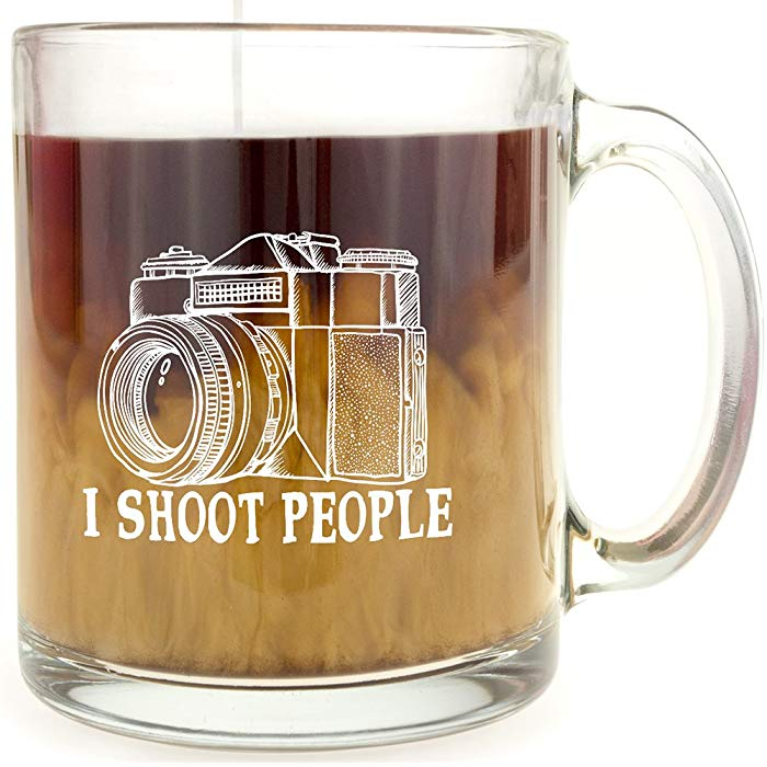 I Shoot People - Glass Coffee Mug