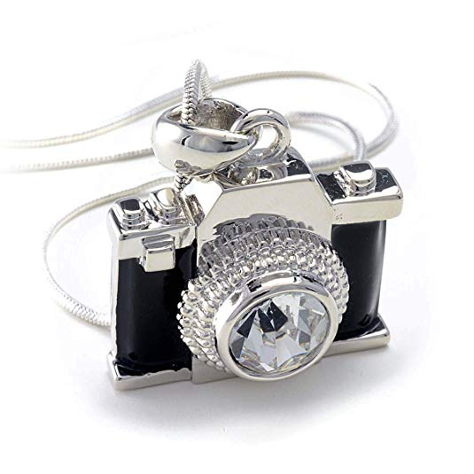 Silvertone Miniature Camera Pendant Crystal Necklace