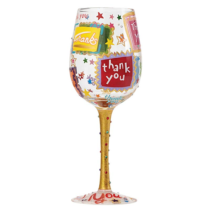 Thank You Hand-painted Wine Glass