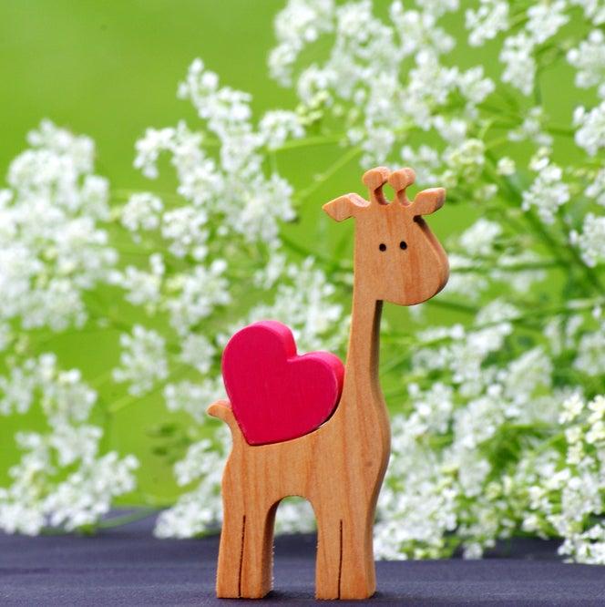 Wooden Giraffe Figurine Love Heart